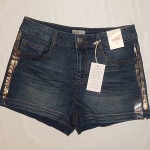 NWT SO Side Shimmer Denim Shortie Shorts
